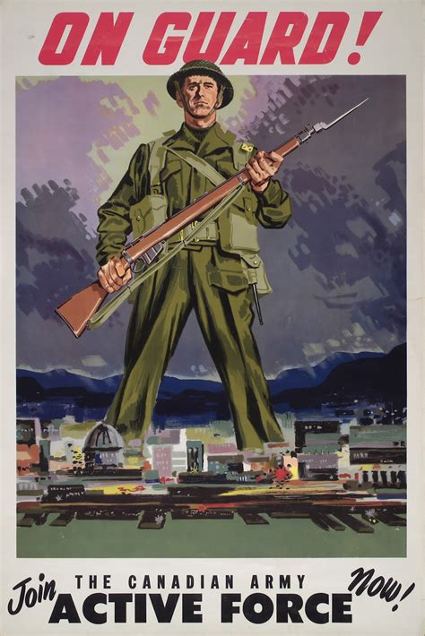 army canadian join guard active force posters poster war 1930s propaganda soldier toronto 1939 america propagandaposterstore