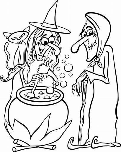 Coloring Witches Witch Halloween Printable Pages Cartoon