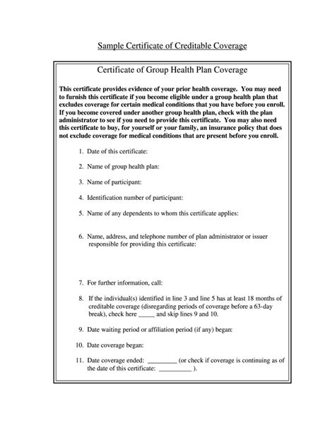 Check out our proof of employment letters, employment verification letters & forms, verification of employment samples! Certificate Of Creditable Coverage Template - Fill Out and Sign Printable PDF Template | signNow