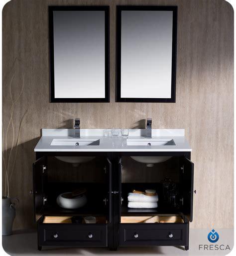 fresca oxford 48 quot double sink bathroom vanity espresso finish