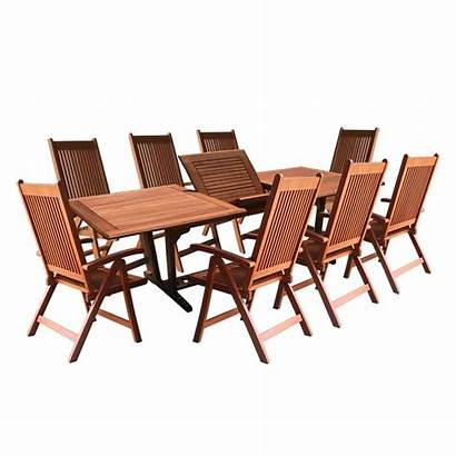 Outdoor Dining Table Piece Wood Rectangular Chair