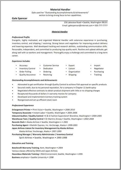 material handler description resume ups package
