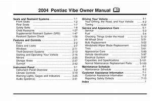 2004 Pontiac Vibe Owners Manual