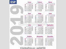Calendario, 2019, español Vertical, español, vector, 2019
