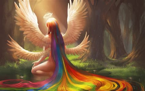 fantasy girl color rainbow hair wings angel tree forest