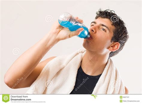 Athletic Man Drinking Energy Drink Stock Image Image