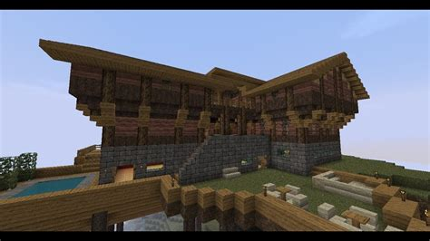 minecraft wooden mountain house youtube