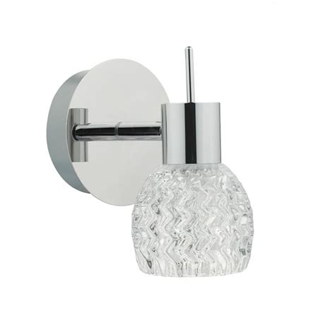 dar lighting anika single light led wall fitting in polished chrome and clear glass finish