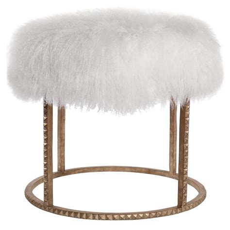 white and gold ottoman pom pom hollywood regency white lamb gold studded pouf