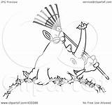 Rake Coloring Rhino Leaves Line Pile Holding Illustration Template Clipart Royalty Pages Toonaday Rf Clip sketch template