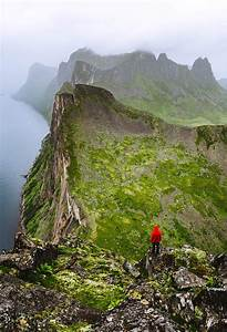 Hiker Enjoying The View On The Foggy Mountains Vertical