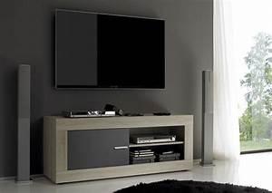 Meuble Chene Gris : meuble tv aura chene samoa gris mat chene samoa gris mat ~ Teatrodelosmanantiales.com Idées de Décoration