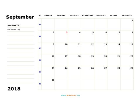 september  calendar wikidatesorg