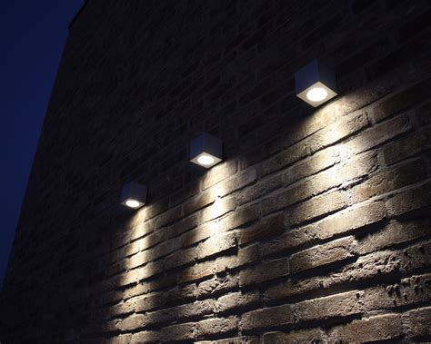 outdoor wall mounted led lighting  red exposed brick