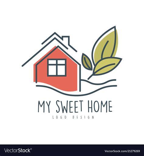 sweet sweet home logo design ecologic home vector image