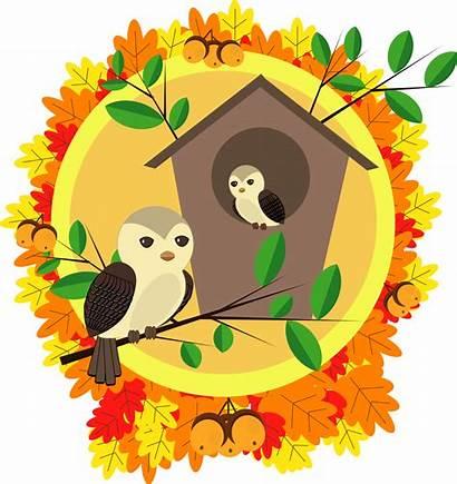 Autumn Clipart Happy Vector Birds Birdhouse Clip