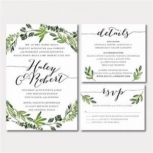 printable wedding invitation suite botanical wreath With wedding invitation with watercolor leaves and butterflies
