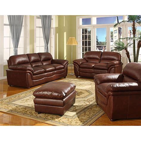 shop redding cognac  piece brown leather modern sofa set