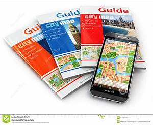 Gps Mobile Phone Navigation And Travel Guide Books  Stock