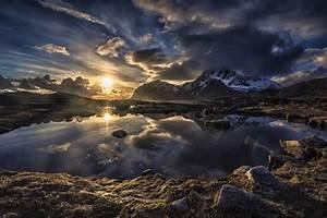 Lofoten, Norway, Sunset, Mountain, Clouds, Lake, Snowy