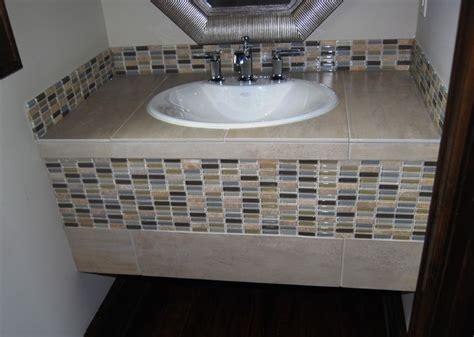 Powder Bath Tiled Vanity W/ Glass Tile-eclectic