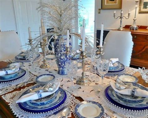 beautiful blue white thanksgiving tablescape pictures