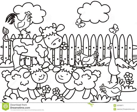 Farm Animals Coloring Book, Vector Illustration Stock