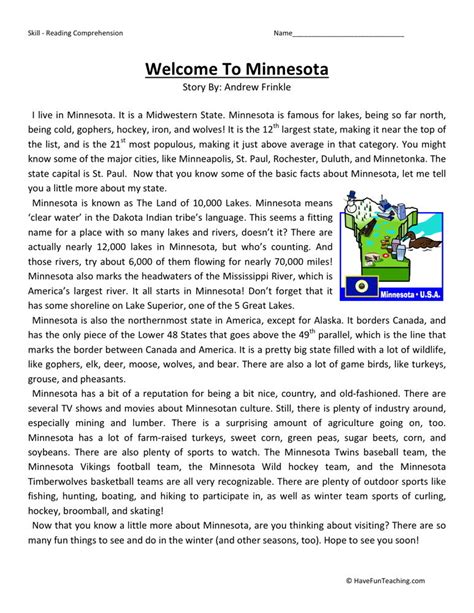 reading comprehension worksheet welcome to minnesota