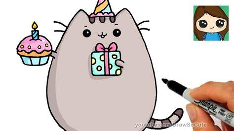 draw happy birthday pusheen cat kids youtube