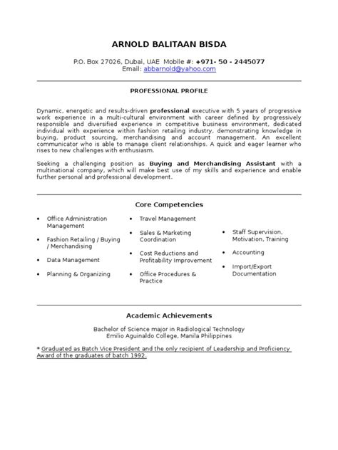 buying assistant resume sle merchandising tagalog