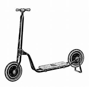 Vintage Clip Art - Transportation Toys - Scooter etc - The ...