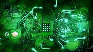 Green Computer Circuit Board With Electronics Components ...