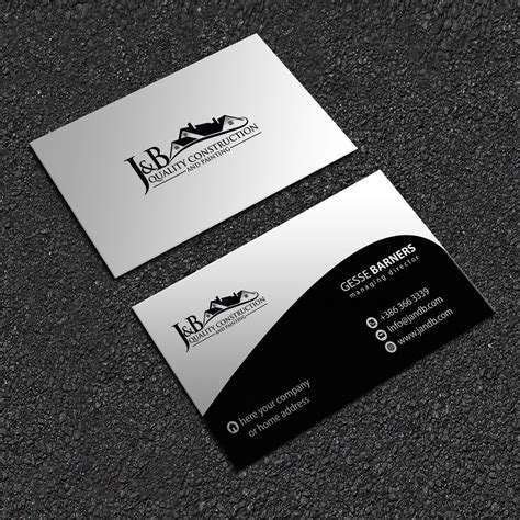 And the design is all yours. Professional, Masculine, Construction Company Business Card Design for J & B Quality ...