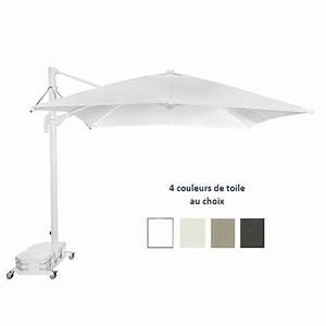 Parasol Avec Pied : parasol 300x300 cm alu mat lateral blanc avec inclinaison avec pied en option par c3005021p ~ Teatrodelosmanantiales.com Idées de Décoration