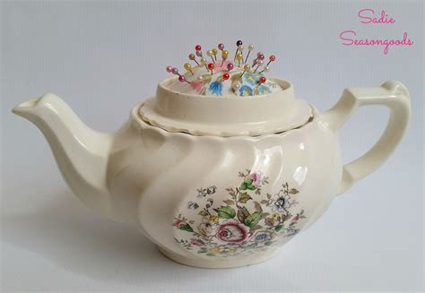 Vintage Teapot Sewing Caddy With Hidden Pincushion   Hometalk