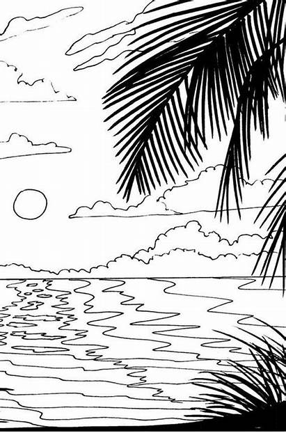 Coloring Sunset Pages Beach Sunrise Drawing Adult