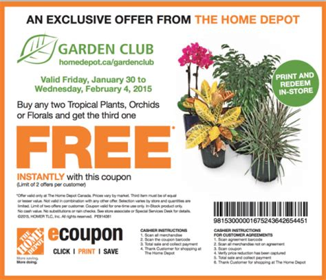 the home depot canada garden club printable coupons buy