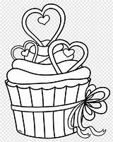 Cupcake Outline Drawing Coloring Clip Pngwave sketch template