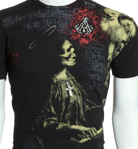 archaic affliction mens  shirt lullaby skull rosary