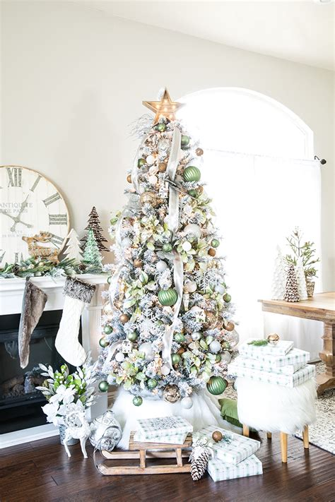 green ornaments balls metallic winter tree