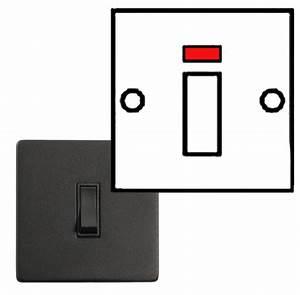 20 Amp D P With Neon Switches Black Matt Finish Black