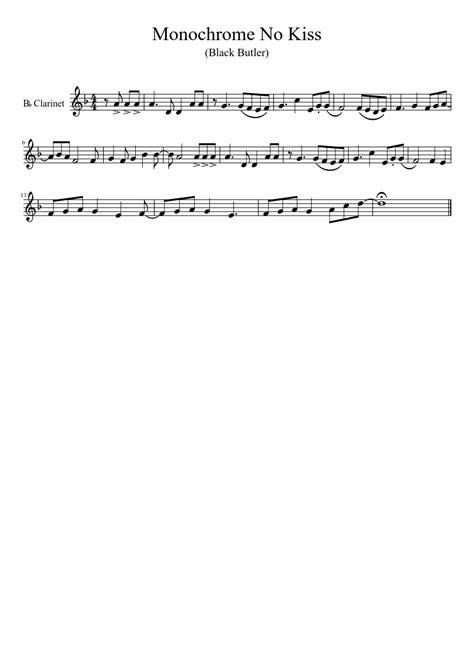 butler musescore kiss music monochrome sheet clarinet anime kuroshitsuji violin partituras piano cello scores