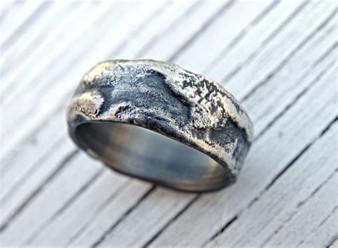 buy  hand  molten silver ring richly structured