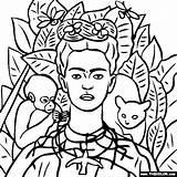 Frida Pintar Kahlo Pinturas Thecolor Salvo Self Portrait sketch template