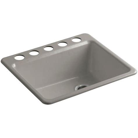 hole in sink basin kohler riverby undermount cast iron 25 in 5 hole single