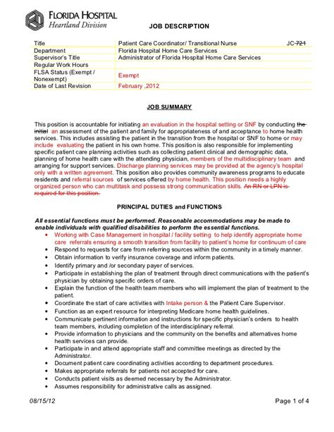 patient care coordinator job description