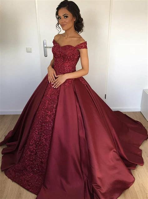 summer dress flower gown shoulder burgundy satin beaded quinceanera