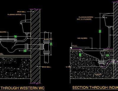 typical section  wc autocad dwg plan  design