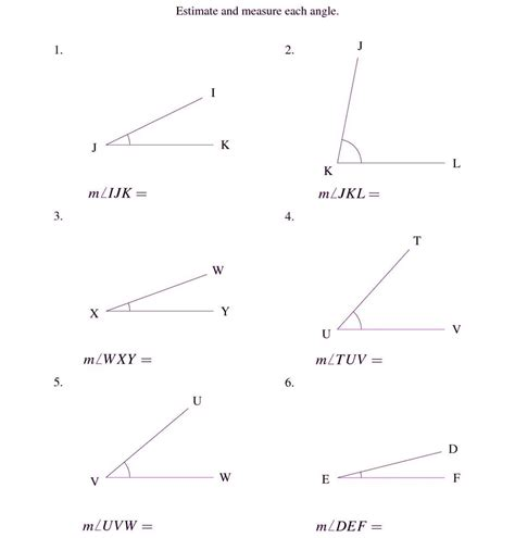 finding measuring missing angles worksheet