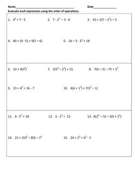 order of operations and evaluating expressions worksheet evaluating expression using order of operations warm ups